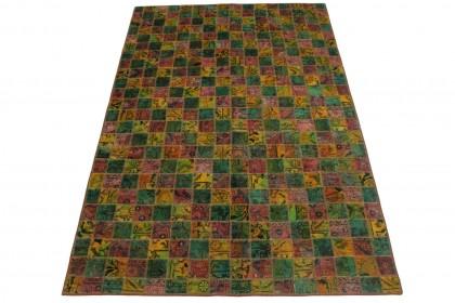 Patchwork Teppich Grün Rot Gelb in 250x160cm