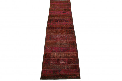 Patchwork Teppich Rot Pink in 310x80cm 1001-1299