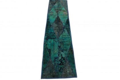 Patchwork Teppich Türkis in 300x70cm 1001-1306