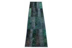 Patchwork Teppich Läufer Türkis in 300x80cm