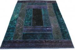 Patchwork Teppich Lila Blau in 200x150cm