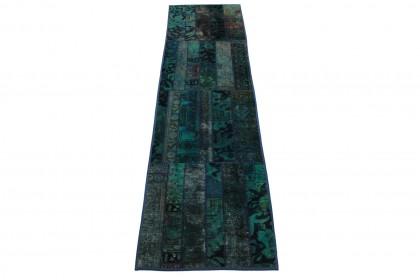Patchwork Teppich Türkis in 300x80cm 1001-1454