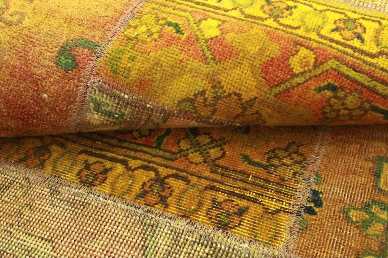 Patchwork teppich orange braun curry in cm