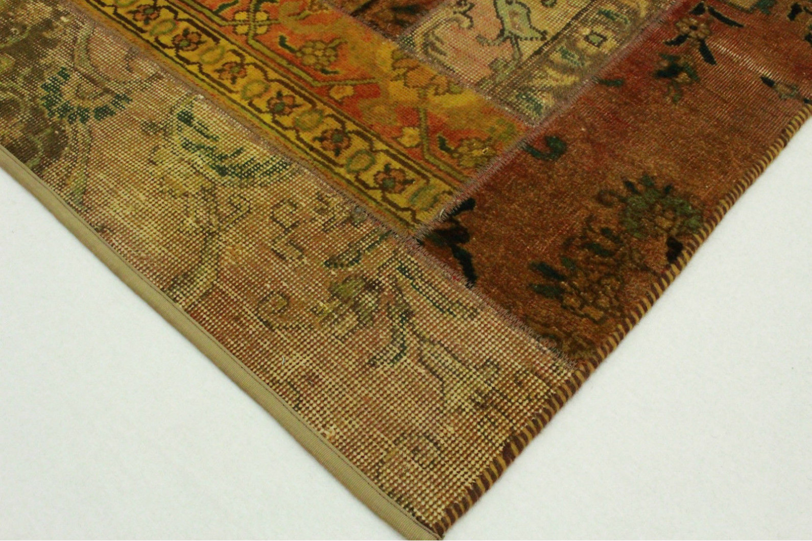 patchwork teppich orange braun curry in 150x100cm 1001. Black Bedroom Furniture Sets. Home Design Ideas