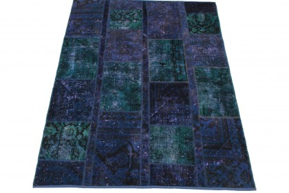 Patchwork Teppich Blau Türkis in 200x151cm