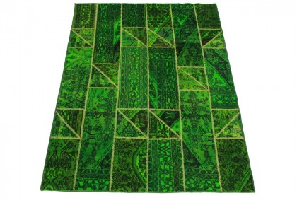 Patchwork Teppich Grün in 240x180cm 1001-1558