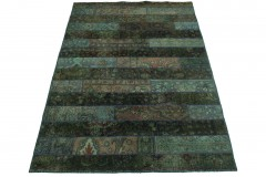 Patchwork Rug Green Purple in 250x170cm