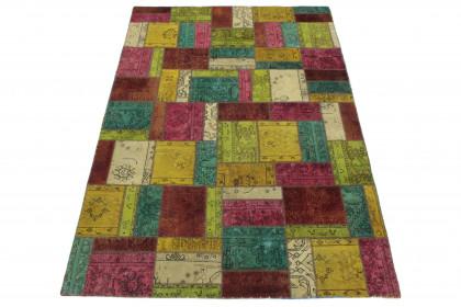 Patchwork Teppich Gelb Rot Türkis Beige in 300x200 1001-167061