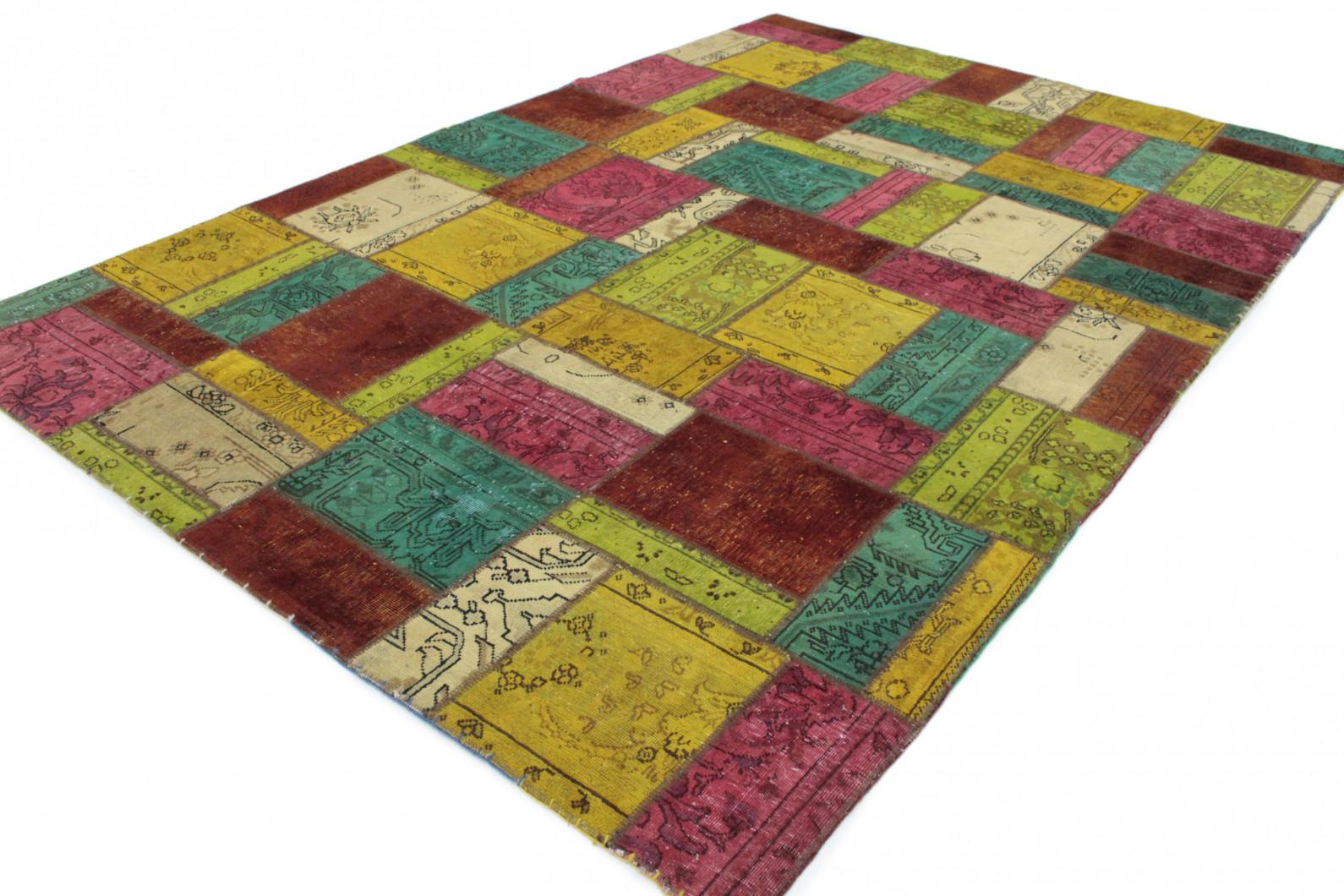 patchwork teppich gelb rot t rkis beige in 300x200 1001. Black Bedroom Furniture Sets. Home Design Ideas