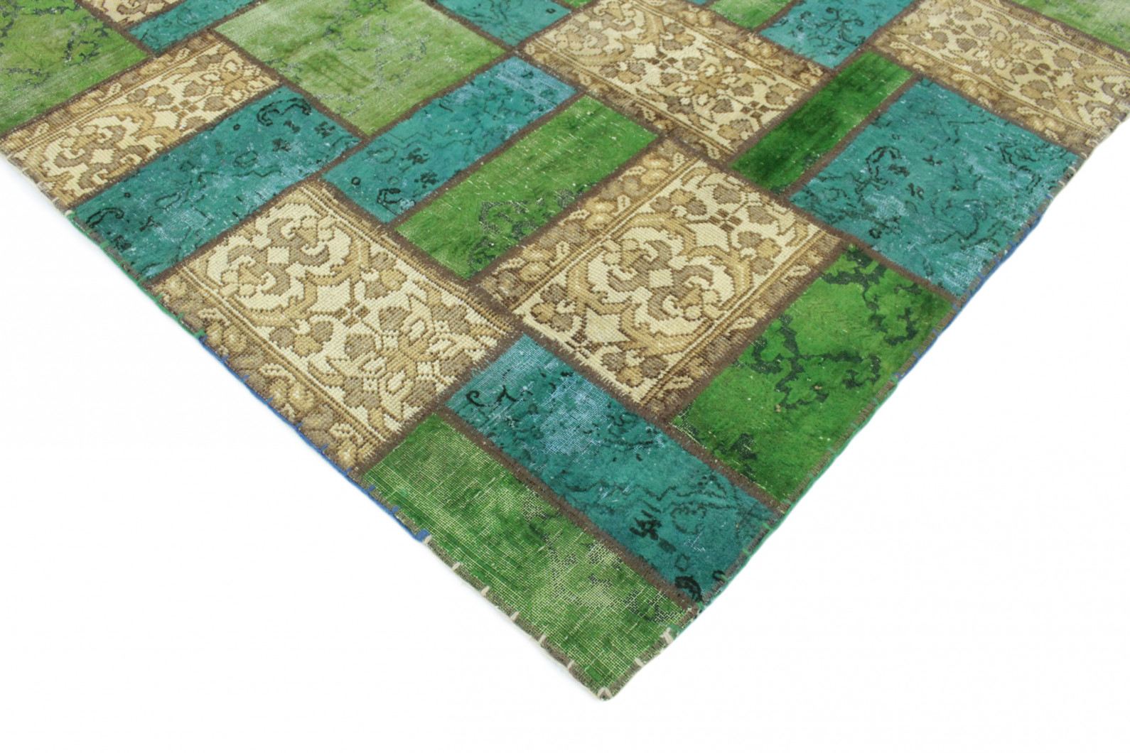 Patchwork Rug Beige Turquoise Green In 300x200 1001