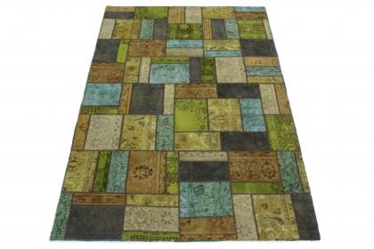 Patchwork Teppich Beige Türkis Grün Lila in 300x200 1001-167063
