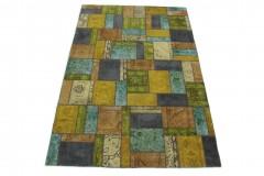 Patchwork Teppich Gold Beige Türkis Blau in 300x200