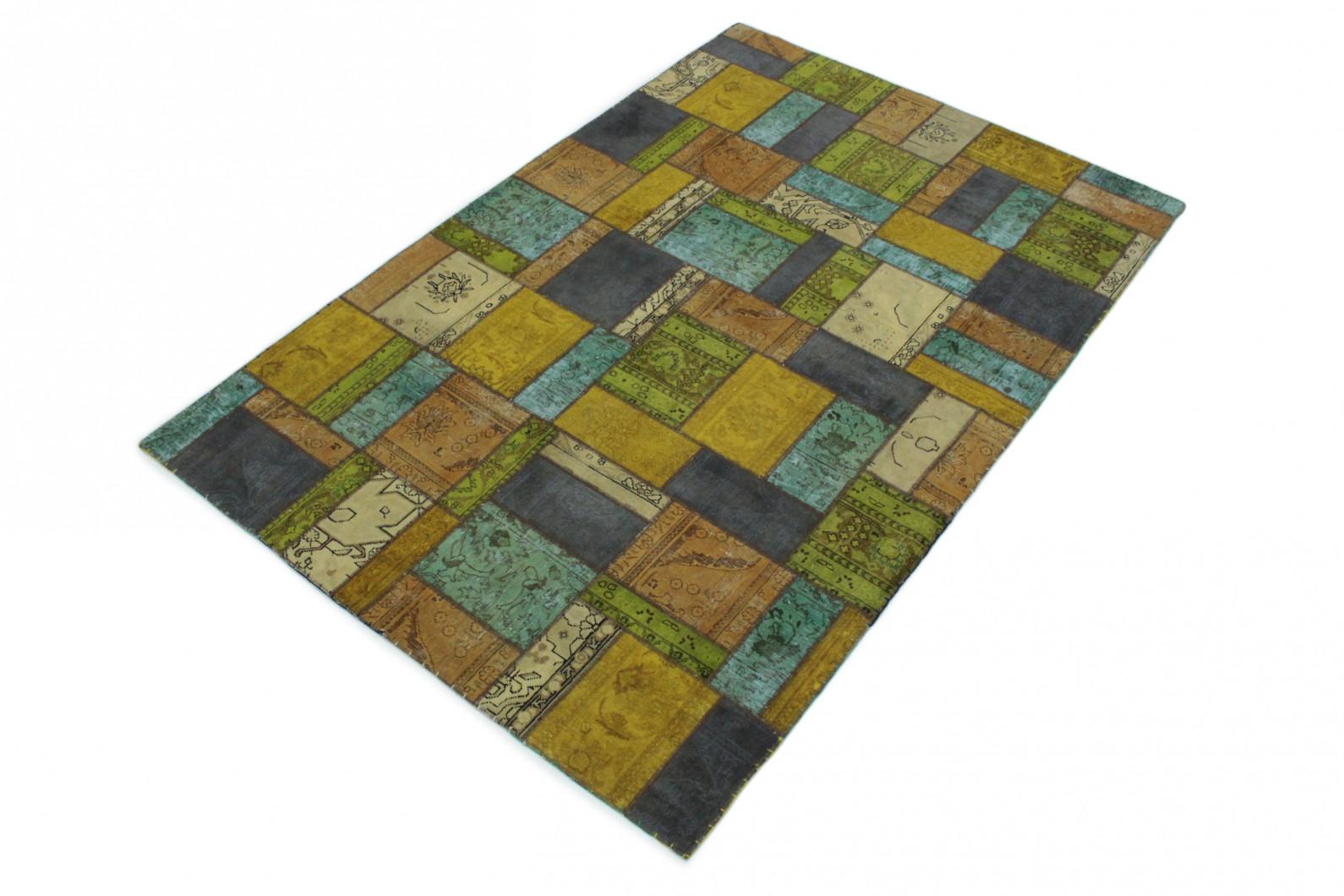 ... Patchwork Teppich Gold Beige Türkis Blau In 300x200 (1/5) ...