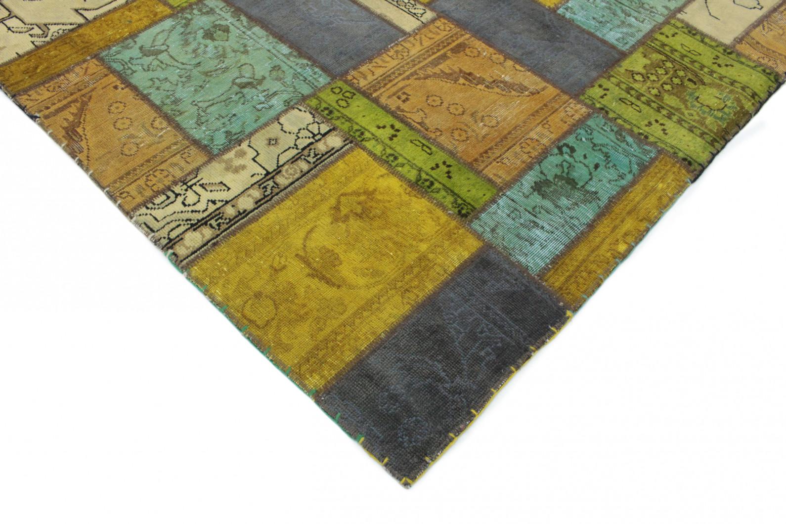 Patchwork teppich gold beige türkis blau in