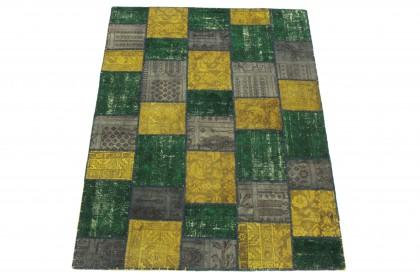 Patchwork Teppich Grau Gelb Grün in 200x150 1001-167066