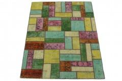 Patchwork Teppich Beige Türkis Pink in 200x150