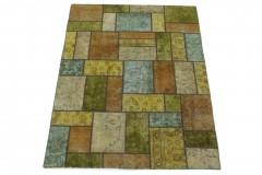 Patchwork Teppich Gelb Grün Türkis Beige in 200x150
