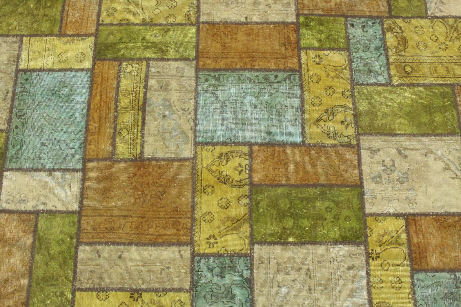 Patchwork teppich gelb grün türkis beige in