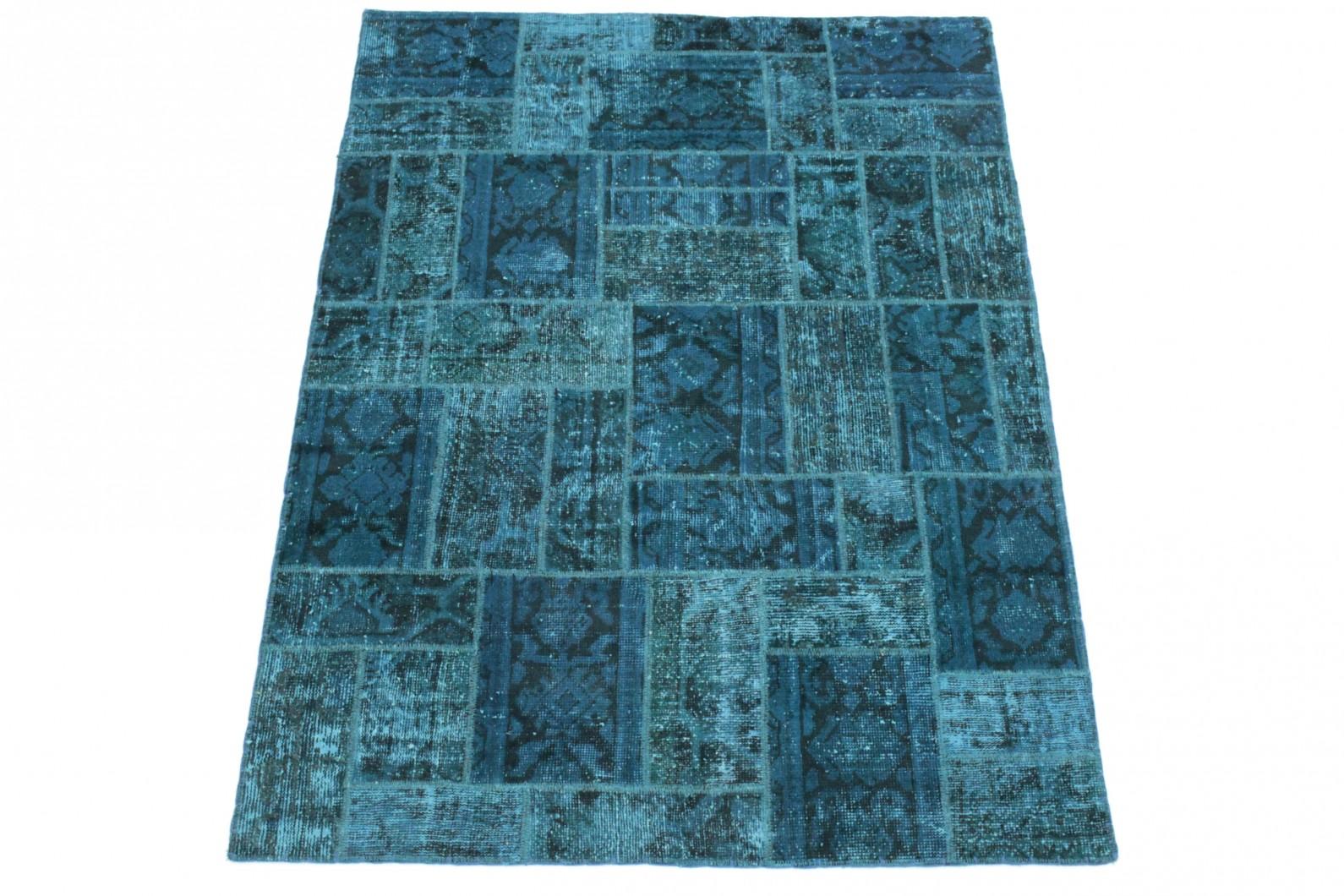 Patchwork Teppich Blau in 200x150