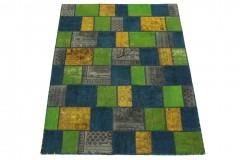 Patchwork Teppich Grün Gelb Blau in 200x150