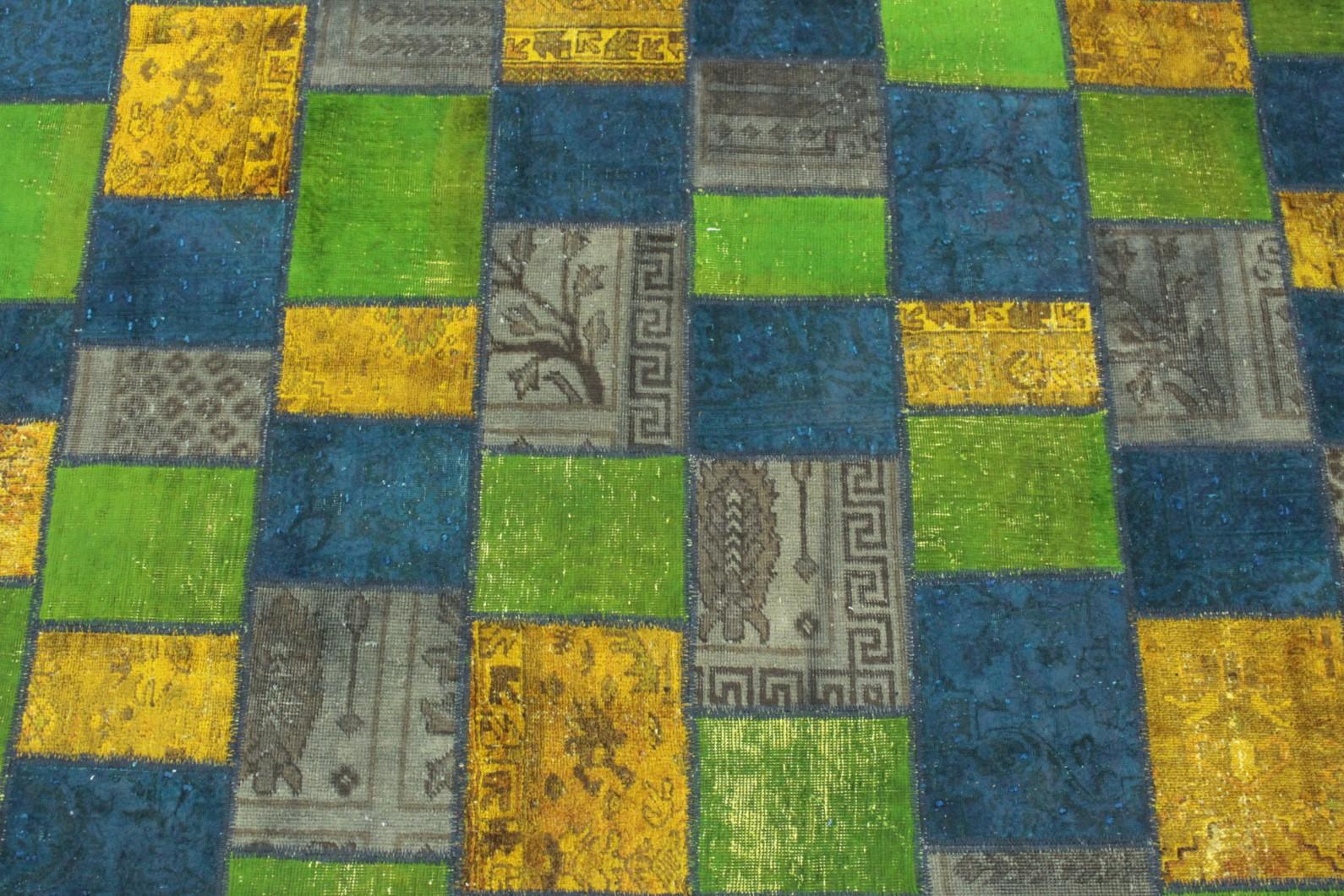 patchwork teppich gr n gelb blau in 200x150 1001 167077 bei kaufen. Black Bedroom Furniture Sets. Home Design Ideas