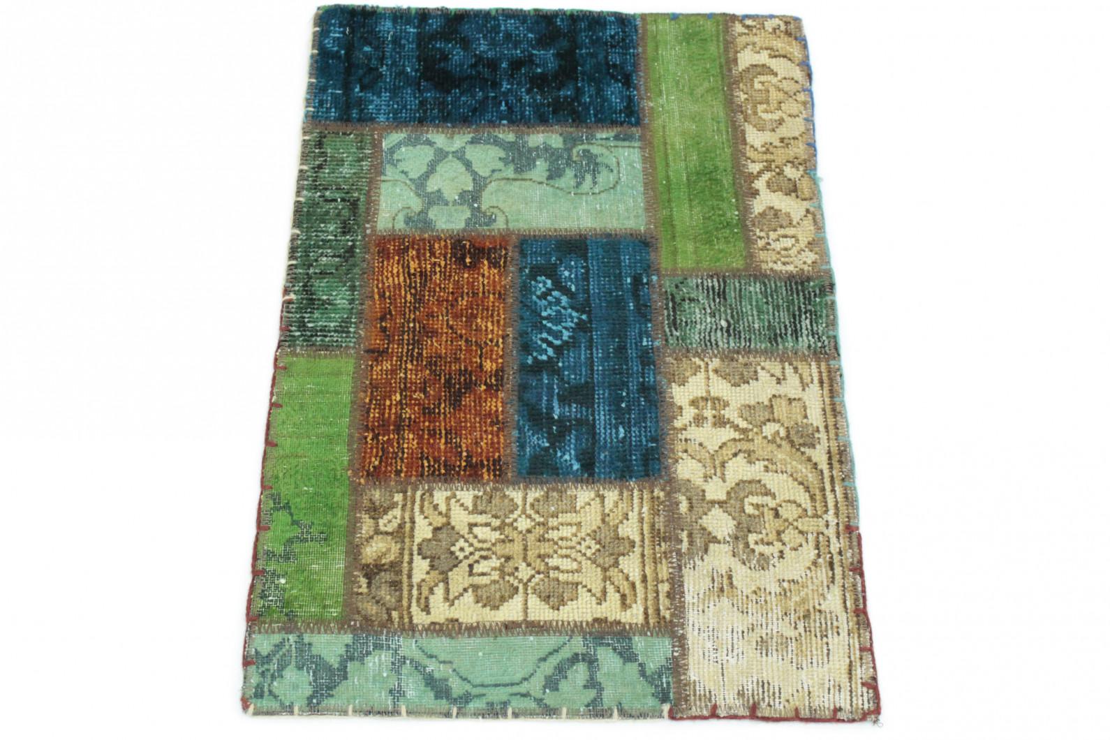 Patchwork teppich grün beige türkis in  bei