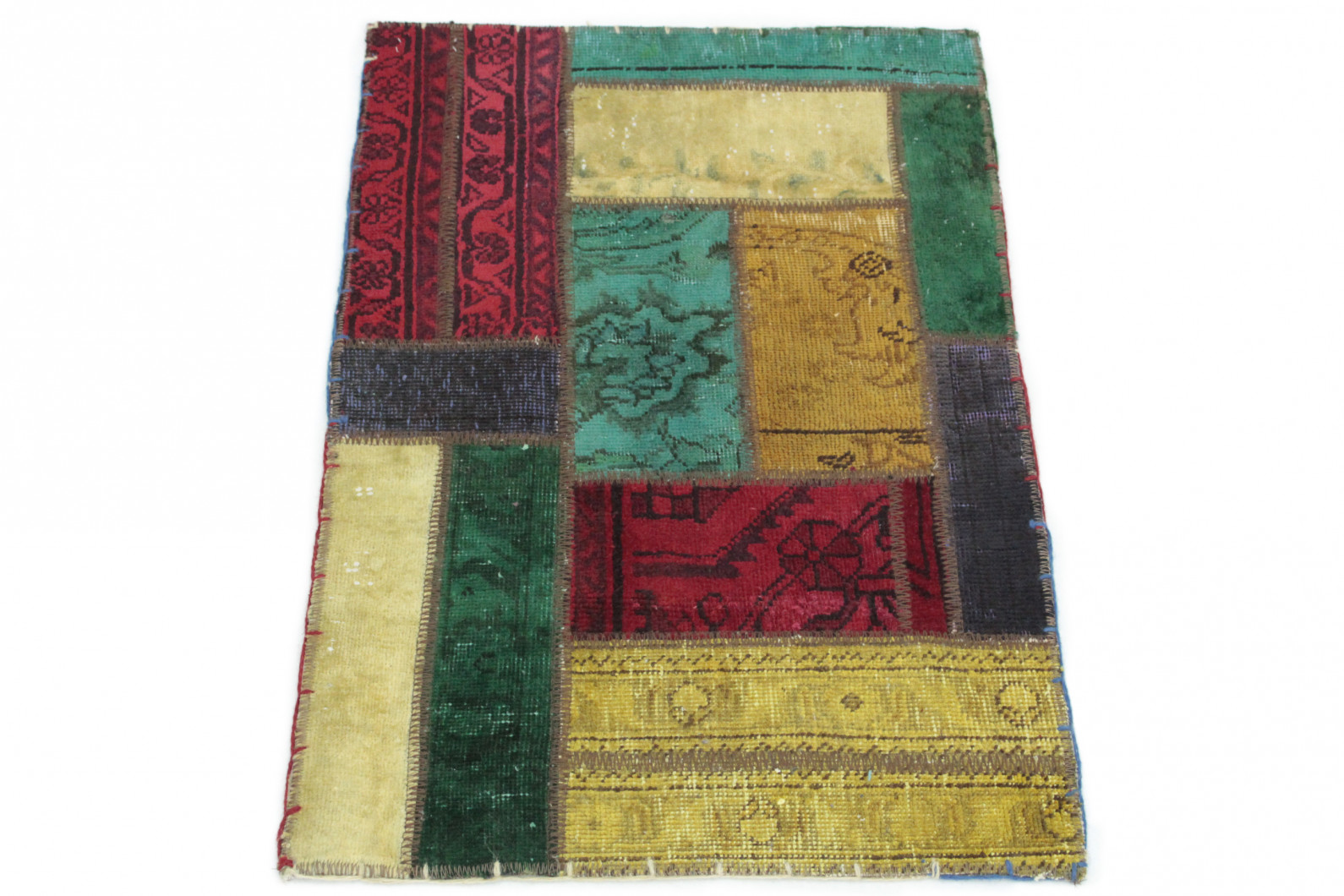 Patchwork Rug Yellow Beige Red Turquoise Purple In 90x60