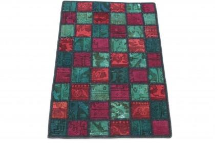 Patchwork Teppich Grün Rot in 90x60