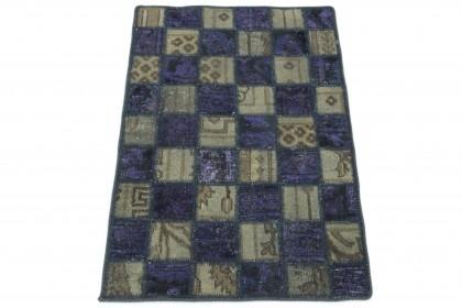 Patchwork Teppich Grau Lila in 90x60