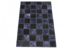 Patchwork Teppich Schwarz Lila in 90x60