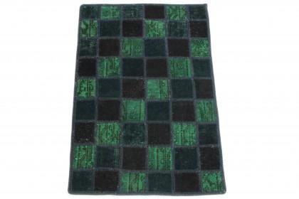 Patchwork Teppich Grün Blau Schwarz in 90x60