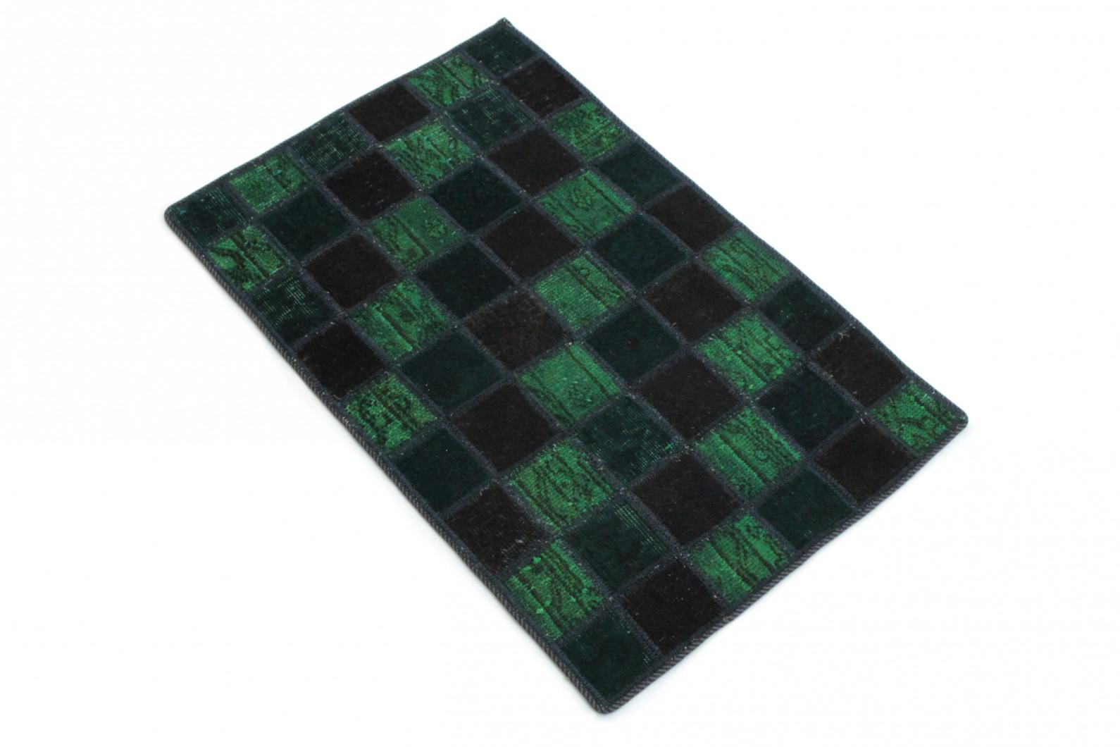 patchwork teppich gr n blau schwarz in 90x60 1001 167104. Black Bedroom Furniture Sets. Home Design Ideas