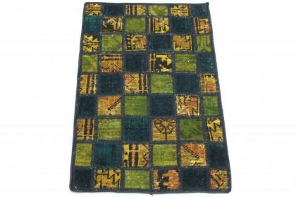 Patchwork Teppich Gelb Grün Blau in 90x60