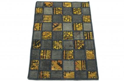 Patchwork Teppich Grau Gelb in 90x60