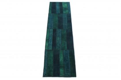 Patchwork Teppich Läufer Blau Türkis in 310x80