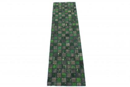 Patchwork Teppich Läufer Grün Schlamm in 310x80