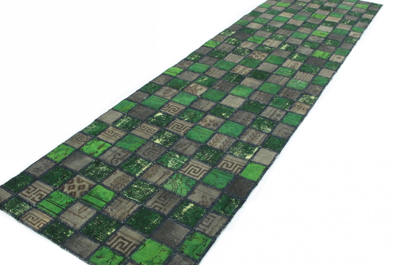 Teppich läufer grün  Patchwork Teppich Läufer Grün Schlamm in 310x80 (1001-167112) bei ...
