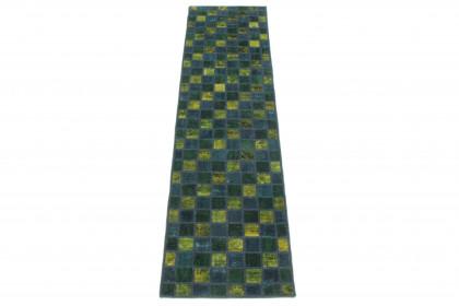 Patchwork Teppich Läufer Grün Gelb Türkis in 310x80 1001-167114