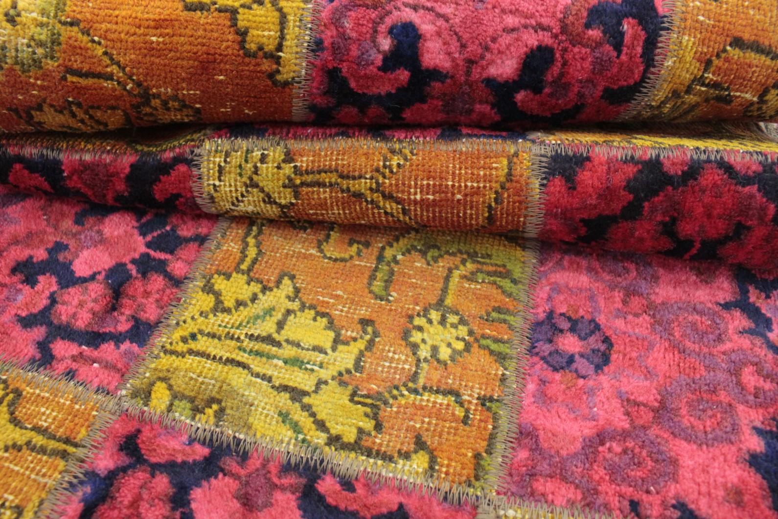 patchwork teppich l ufer orange pink in 260x80 1001 167115 bei kaufen. Black Bedroom Furniture Sets. Home Design Ideas