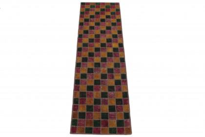 Patchwork Teppich Läufer Orange Pink Grün in 270x80