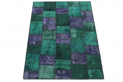 Patchwork Teppich Grün Lila in 200x150