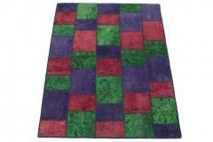 Patchwork Teppich Grün Lila Rot in 200x150