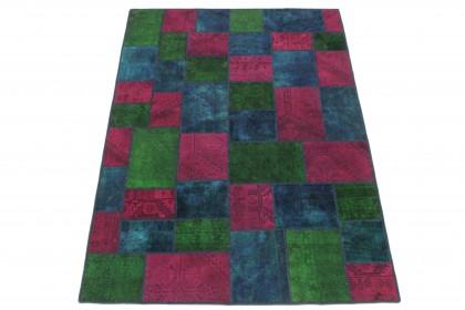 Patchwork Teppich Grün Pink Blau in 240x170