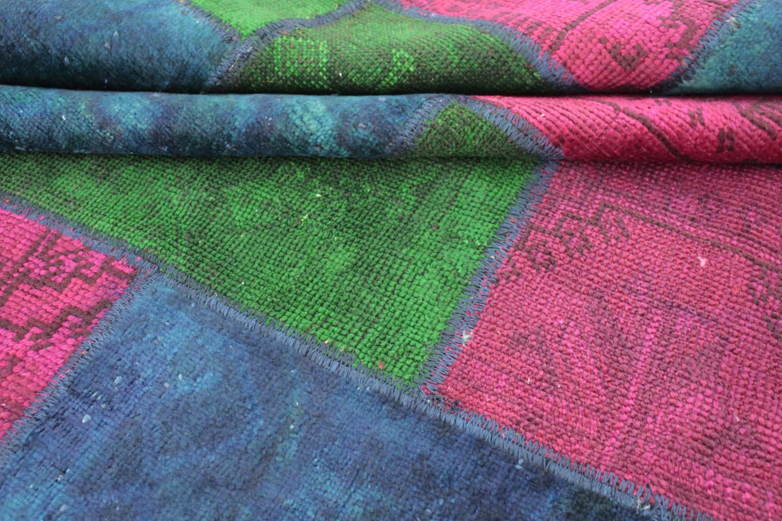 patchwork teppich gr n pink blau in 240x170 1001 167120 bei kaufen. Black Bedroom Furniture Sets. Home Design Ideas