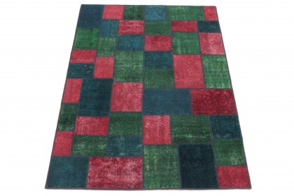 Patchwork Teppich Rot Grün Blau in 240x170