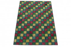 Patchwork Teppich Rot Gelb Türkis Grün in 210x150