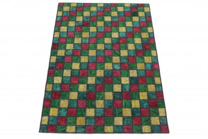 Patchwork Teppich Rot Gelb Türkis Grün in 210x150 1001-167123
