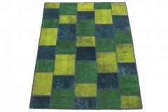 Patchwork Teppich Türkis Grün Gelb in 200x150