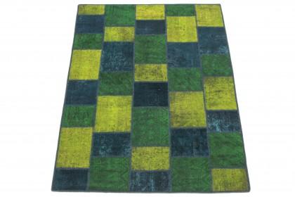 Patchwork Teppich Türkis Grün Gelb in 200x150 1001-167124