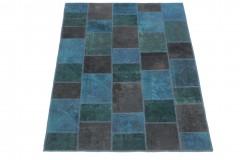Patchwork Teppich Blau Türkis Braun in 200x150